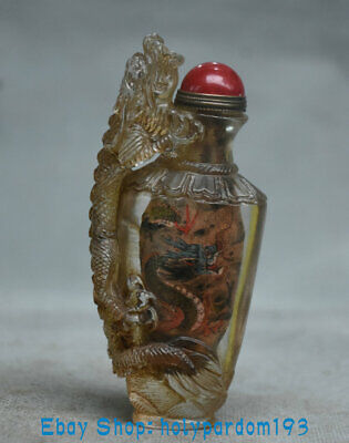 """4.2"""" Old China Coloured glaze Inner Painting Dynasty Dragon Beast Snuff bottle"""