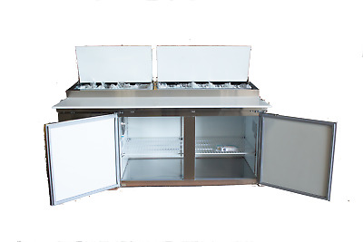 """A.C.E. Pizza Prep Table, 9 Pans, 71"""" Wide, Refrigerated Double Door Cabinet"""