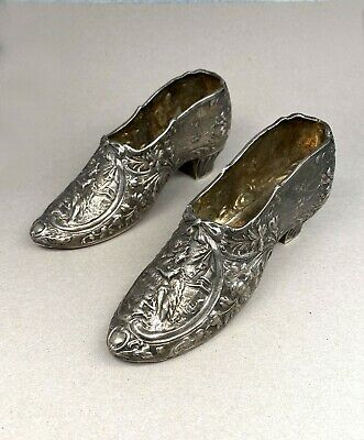 Rare Pair 19th C German Rococo Sterling Silver Ladies Shoes Berthold Muller 1897