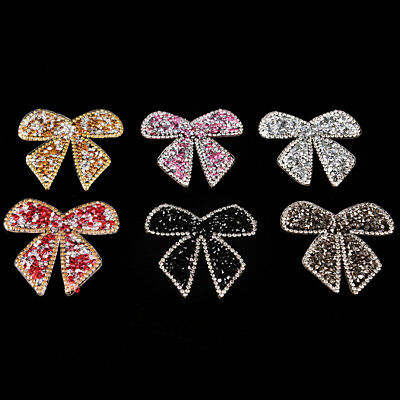 Rhinestones Bow Embroidered Patch Iron on Sewing Crystal Applique For Jeans HU