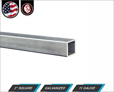 "2"" Galvanized Square Steel Tube - 11 gauge - 96"" inch long (8-ft)"