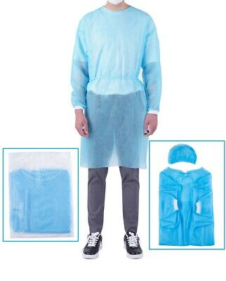 (5pcs) Dental Isolation Gown with Hood Knee-Length,Tie-Back -Uni-  FreeShipping