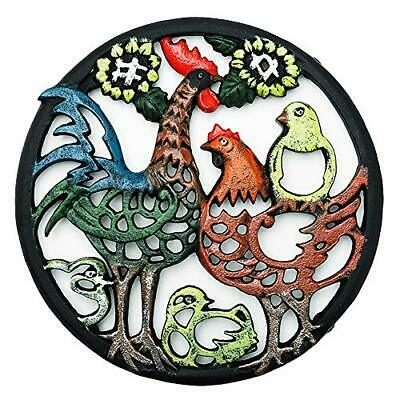 Sungmor Cast Iron Cock Trivet for Wood Stove - Dia-8.1 Inch Cock Family Image -