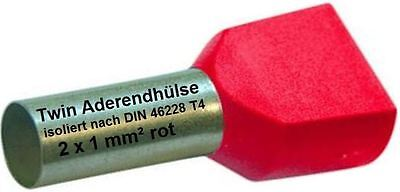 Twin Wire Ferrules 2 X 1 MM ² Red End Double Tinned New