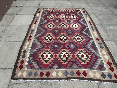 Kilim Vintage Traditional Hand Made Oriental Large Kilim Red Wool 242x163cm