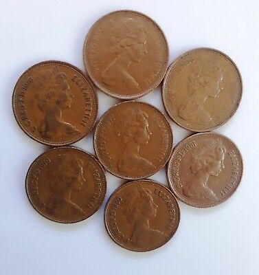 7 Coins New Penny 1975-1981 Great Britain
