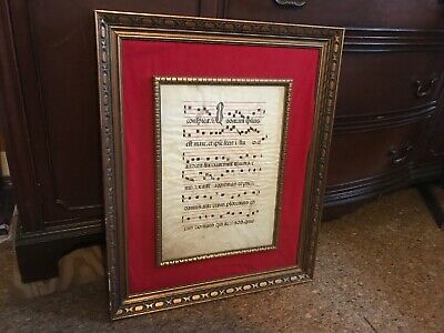 16th Century Antiphonal Music Manuscript Double sided Framed