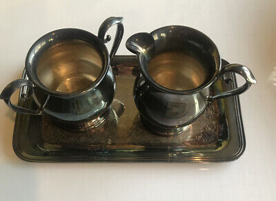 Vintage Sheffield Electroplated Silver On Copper Creamer, Sugar And Tray.