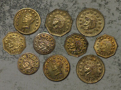 Collection of 9 California Fractional Gold Tokens