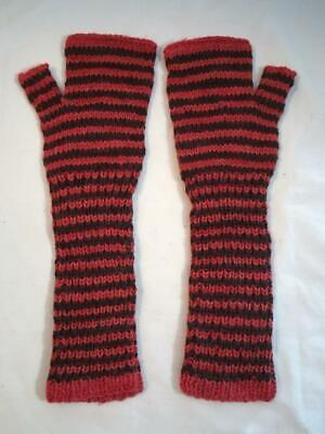 Hand Knit Wool Fingerless Gloves Striped Brown Coral