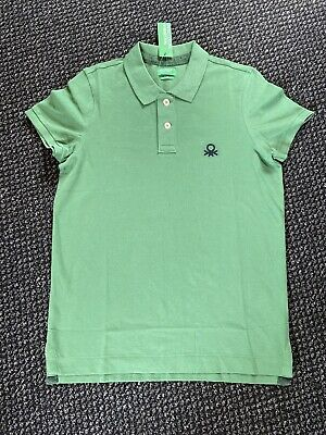 Mens United Colours Of Benetton Green Muscle Fit Polo T-shirt Size UK L BNWT