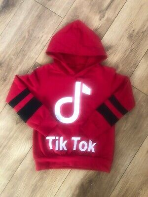 Tik tok girls boys kids childrens hoodie set top red 4,6,8 9,10,11,12, years new
