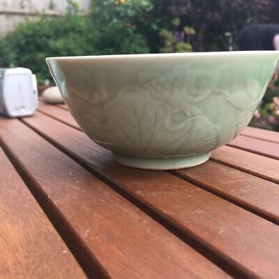 Vintage Chinese Celadon Bowl With Carp And Lilies