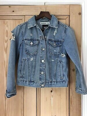 Girls Blue Distressed Denim Jacket Size 10-11years