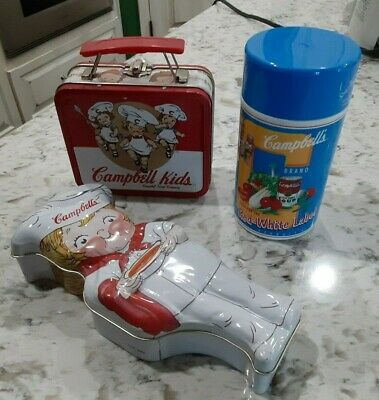 Vintage Campbell's Soup Lunch Box Thermos And Tin