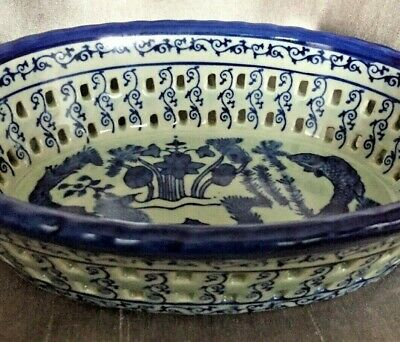 Antique Chinese Character Mark Celadon Glaze Pierced Oval Bowl Blue Fish Pattern