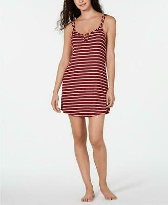 Jenni Women's Plum Wine Striped Ladder Front Chemise Nightgown Size M MSRP $24