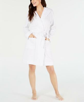 Charter Club Women White Long Sleeve Knit Terry Cloth Hooded Robe Size XL RV $49