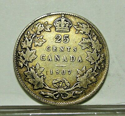 1907 Silver Canada 25 Cents Quarter Canadian Coin  ~ Free Shipping ~