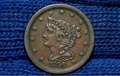 1856 HALF CENT **AU** NICE BROWN **Take 5% Off Right Now !