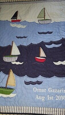 SAILBOATS Pottery Barn Kids Crib Toddler QUILT Nautical baby Nursery blue mono