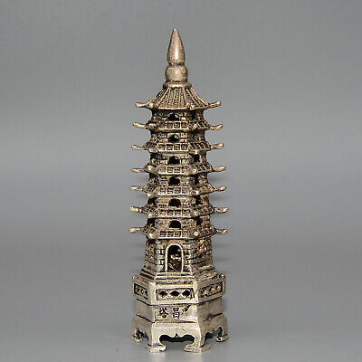 Collectable China Old Miao Silver Hand-Carved Unique Exorcism Tower Decor Statue