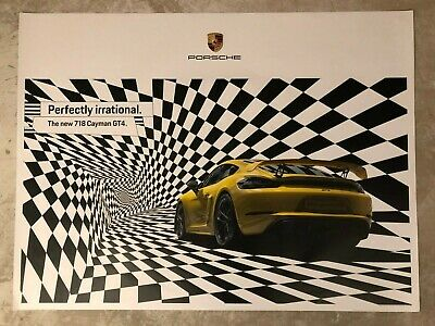 """2019 Porsche 718 Cayman GT4 Coupe """"Irrational"""" Showroom Advertising Poster RARE!"""