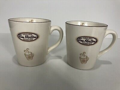 Tim Hortons Limited Edition No.007 Off-White Coffee Cups Mugs Set 2