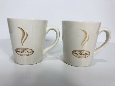 Tim Hortons Limited Edition No.006 Off White & Brown Coffee Cups Mugs Set 2