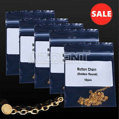 5 Bags Dental Orthodontic Traction Chain Gold Round Mesh Base Lingual Buttons