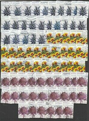 """25 each of the 3 Lots of $1.00 """"Wildflowers"""". 75 Used Aust. Stamps. See Photos."""