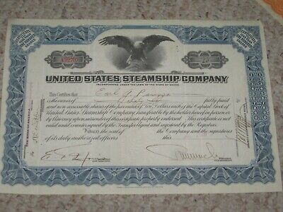 United States Steamship company 1924 stock shares (60 shares) paperwork