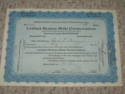 United States Ship Corporation 1921 stock shares (40 shares) paperwork