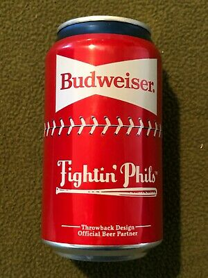 2020 Philadelphia Phillies Budweiser Beer Can MLB Fightin' Phils Bottom Opened