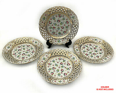 Set of 4 Hermann Ohme Hand Painted Reticulated Porcelain Plates