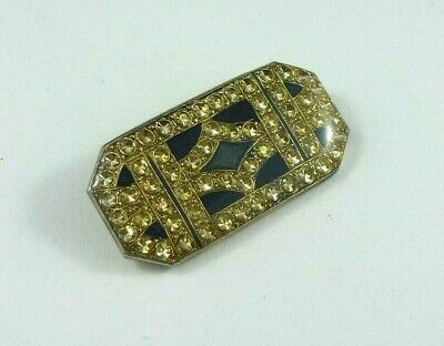 Art deco style vintage rhinestone and enamel brooch