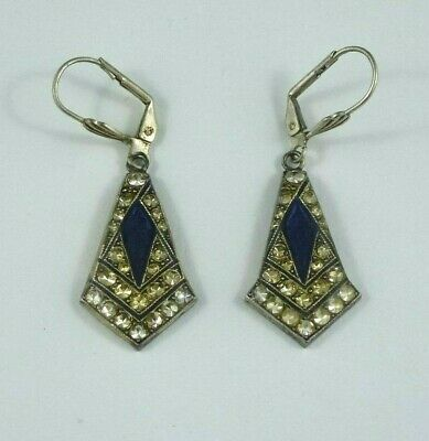 Art deco vintage inspired enamel & rhinestone earrings