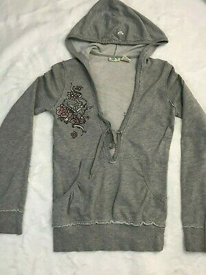 Roxy Women's Gray Graphic Sweatshirt Hoodie Long Sleeve Size XS Flowers