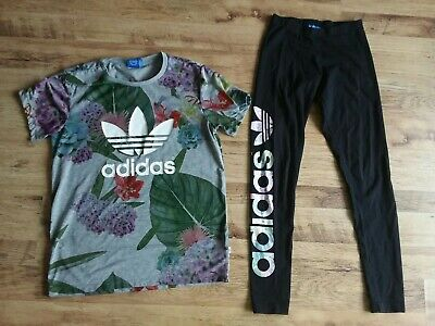 Adidas Originals Botanical Set Leggings And T Shirt
