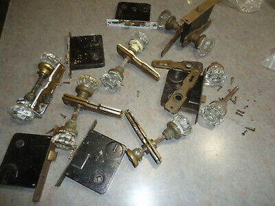 Large Lot Of Vintage Antique Glass Door Knobs, Brass Hardware & Screws