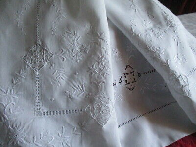 Stunning Antique French Linen Sheet Top/Return for Projects. Masses Embroidery