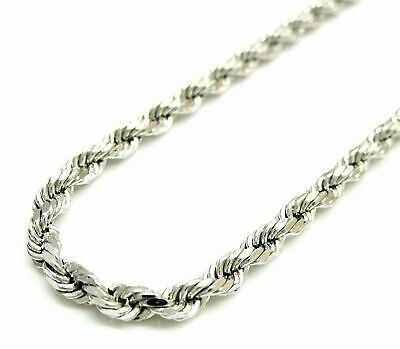 Solid 925 Sterling Silver Italian Rope Chain Mens Necklace 4mm - Diamond Cut