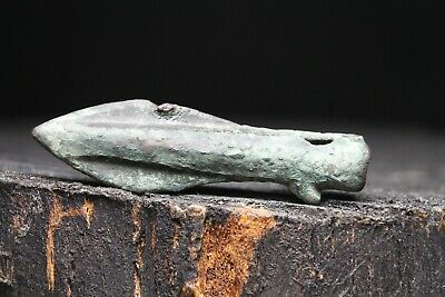 Ancient Greek Bronze Large Arrowhead, Rare Antique Artifacts, 6-1th century BC.