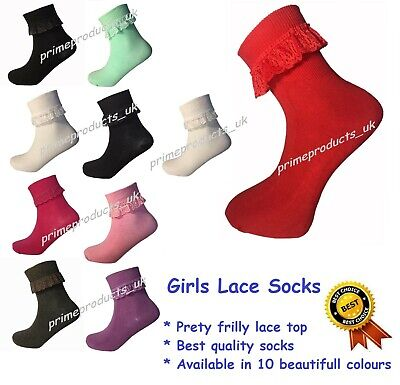 1/3/6 X Pairs Girls Cotton Frilly Lace Top Ankle Socks in Red Purple Black Grey