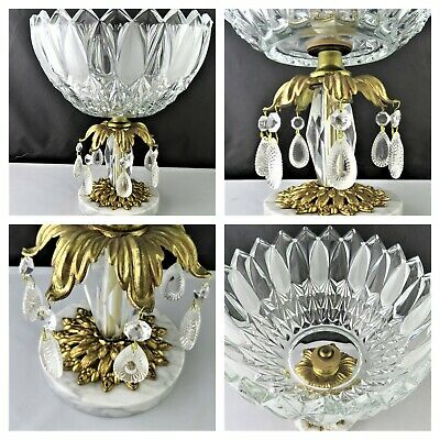 Italian Hand Cut Crystal Bowl On Brass And Marble Base 7.5 Lb