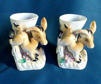 2 Vintage Jumping Donkey Vases Made in Japan Hand Painted