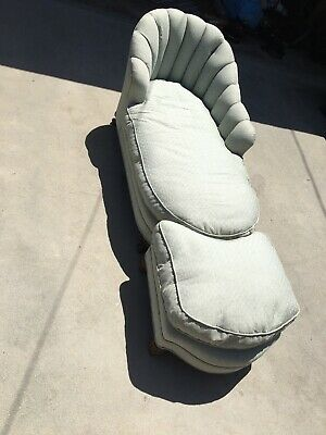 Vintage Antique Fainting couch chaise sofa Setee with Ottoman Down Filled