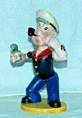 """POPEYE w SPINACH CAN & PIPE CAST IRON BANK FIGURINE 9"""" Exc Heavy Door Stop LARGE"""