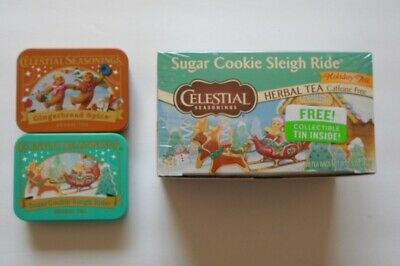 CELESTIAL SEASONINGS Sugar Cookie sealed box tea, tin and two tins, Gingerbread
