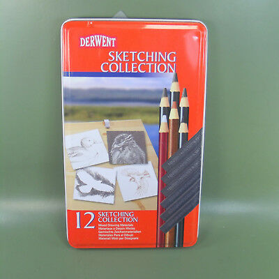 Derwent 12 Sketching Collection Tin Mixed Media No 34305 Made In UK